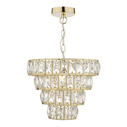 Cerys 1 Light 4 Tier Pendant Crystal & Gold, double insulated, BXCER0135-17